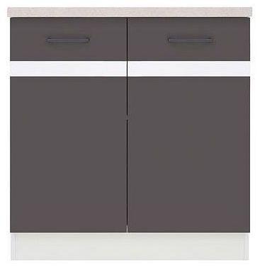 Kuchyňská skříňka Junona Line D2D/80/82 - Bílý lesk/šedý wolfram