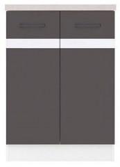 Kuchyňská skříňka Junona Line D2D/60/82 - Bílý lesk/šedý wolfram