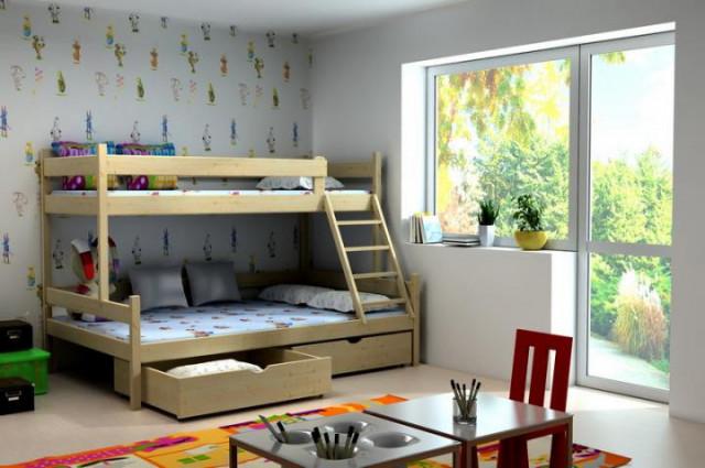 Patrová postel s rozšířeným spodním lůžkem PPS 002 + zásuvky