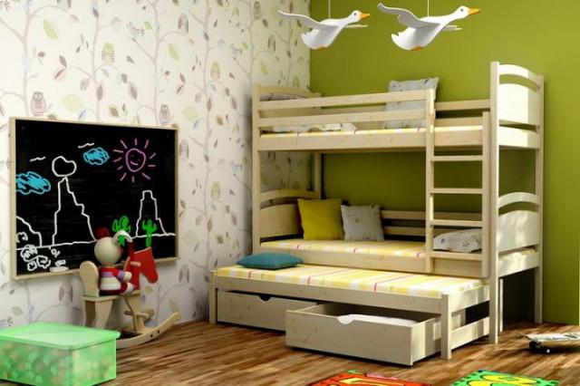 Patrová postel s výsuvnou přistýlkou PPV 002 + zásuvky