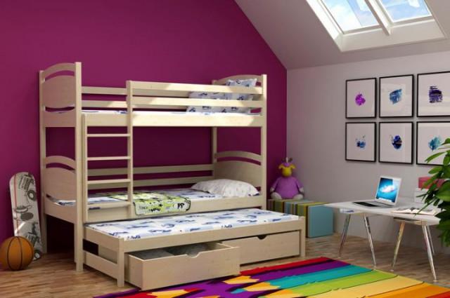 Patrová postel s výsuvnou přistýlkou PPV 003 + zásuvky
