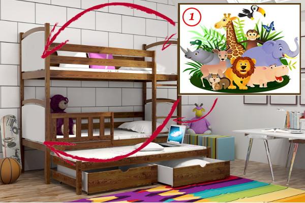 Vomaks Patrová postel s výsuvnou přistýlkou PPV 005 - 01 Safari 180 cm x 80 cm Bezbarvý ekologický lak