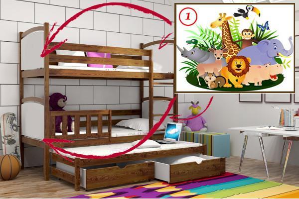 Patrová postel s výsuvnou přistýlkou PPV 005 - 01 Safari + zásuvky
