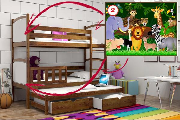 Vomaks Patrová postel s výsuvnou přistýlkou PPV 005 - 02 Džungle 180 cm x 80 cm Bezbarvý ekologický lak