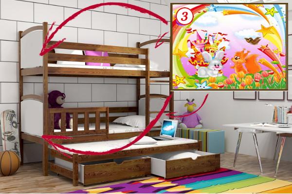 Vomaks Patrová postel s výsuvnou přistýlkou PPV 005 - 03 Veverka a králík 180 cm x 80 cm Bezbarvý ekologický lak