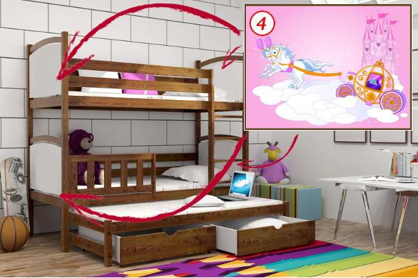Patrová postel s výsuvnou přistýlkou PPV 005 - 04 Kočár + zásuvky