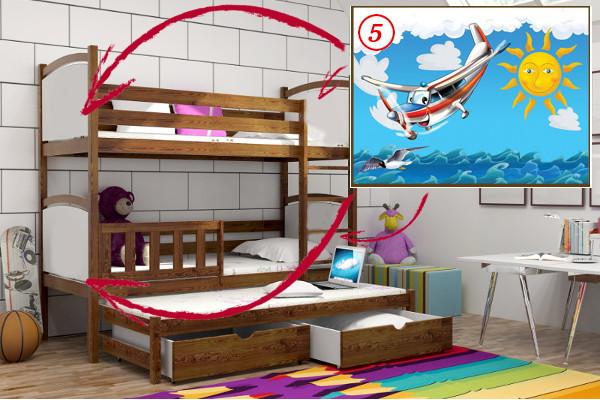 Patrová postel s výsuvnou přistýlkou PPV 005 - 05 Letadlo + zásuvky
