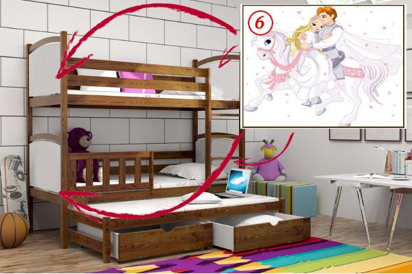 Patrová postel s výsuvnou přistýlkou PPV 005 - 06 Princ a princezna KOMPLET