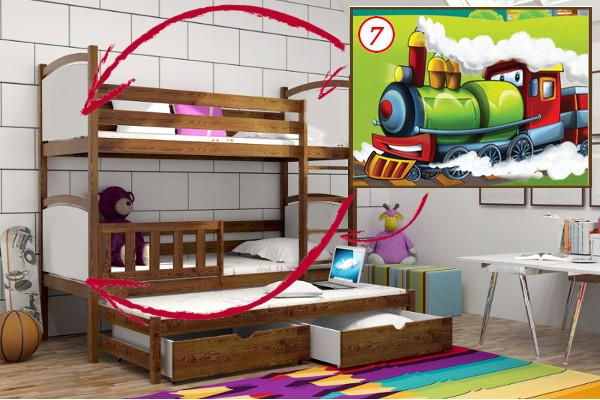 Patrová postel s výsuvnou přistýlkou PPV 005 - 07 Lokomotiva + zásuvky