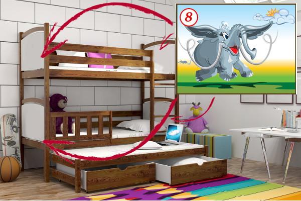 Patrová postel s výsuvnou přistýlkou PPV 005 - 08 Mamut + zásuvky