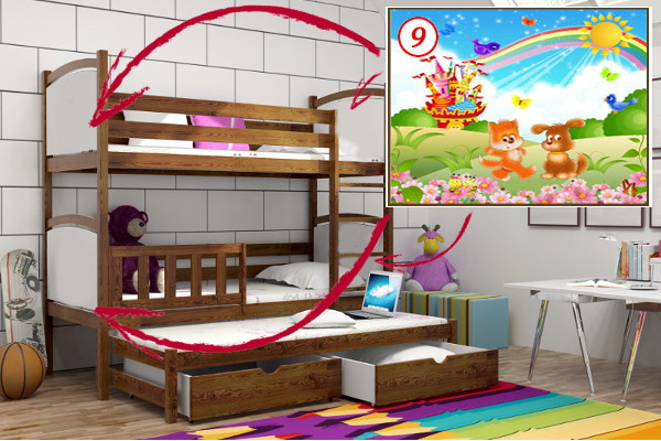 Patrová postel s výsuvnou přistýlkou PPV 005 - 09 Duhový zámek KOMPLET