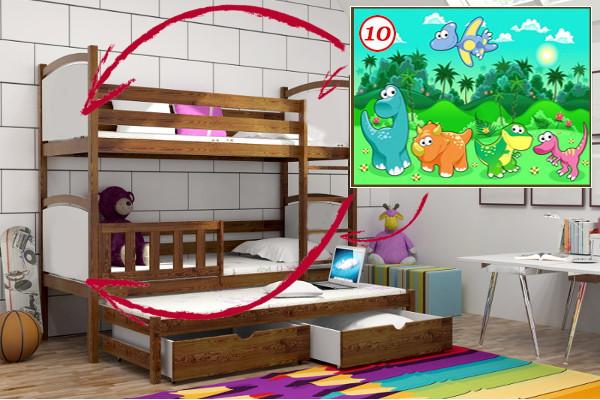 Patrová postel s výsuvnou přistýlkou PPV 005 - 10 Dinosauři + zásuvky