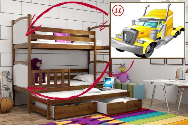 Patrová postel s výsuvnou přistýlkou PPV 005 - 11 Tahač + zásuvky