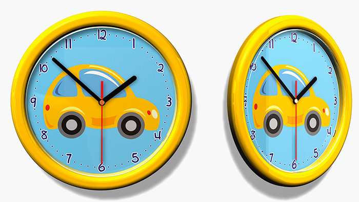 Forclaire Dětské hodiny č. 27 Auto žluté