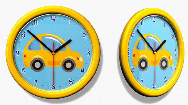 Dětské hodiny č. 27 Auto žluté