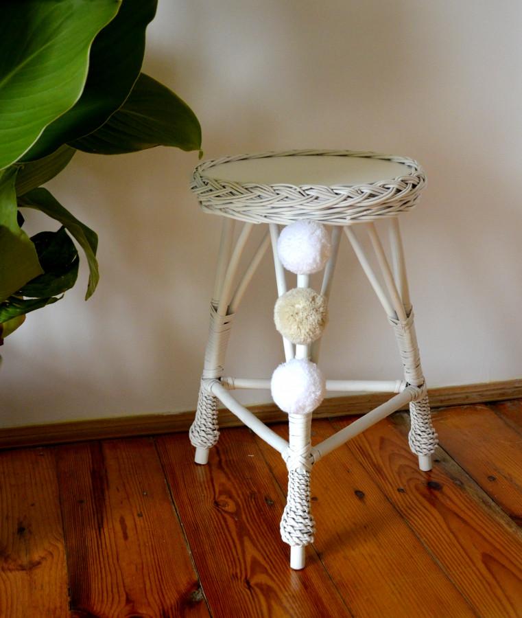 Forclaire Proutěný stoleček kulatý - růžový