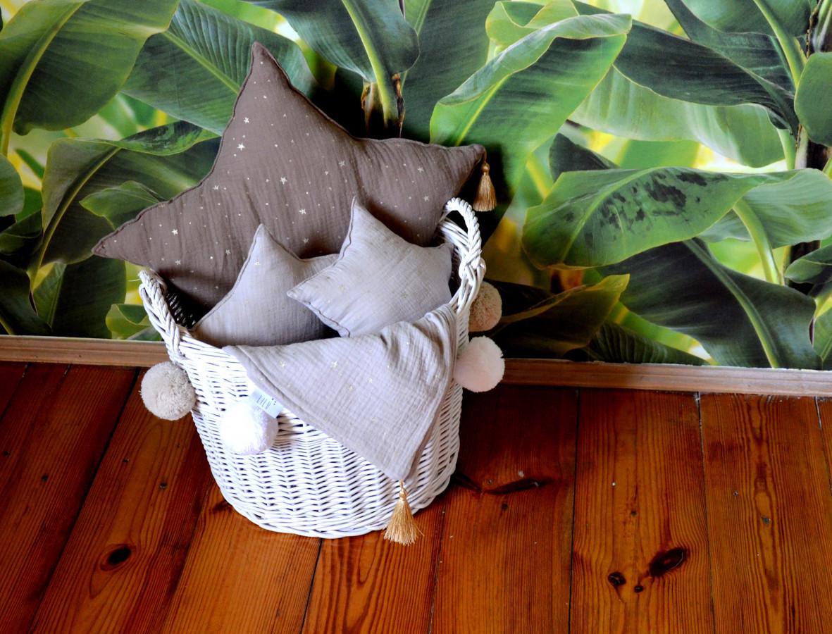 Forclaire Proutěný koš na hračky šedý