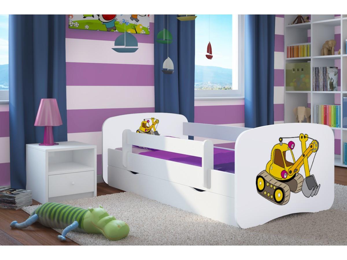 Forclaire Dětská postel se zábranou Ourbaby - bagr- bílý postel 160 x 80 cm s úložným prostorem