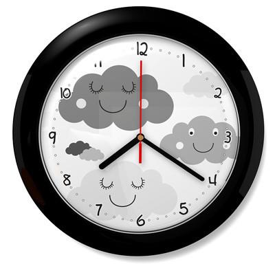 Dětské hodiny mráčky 72 černé
