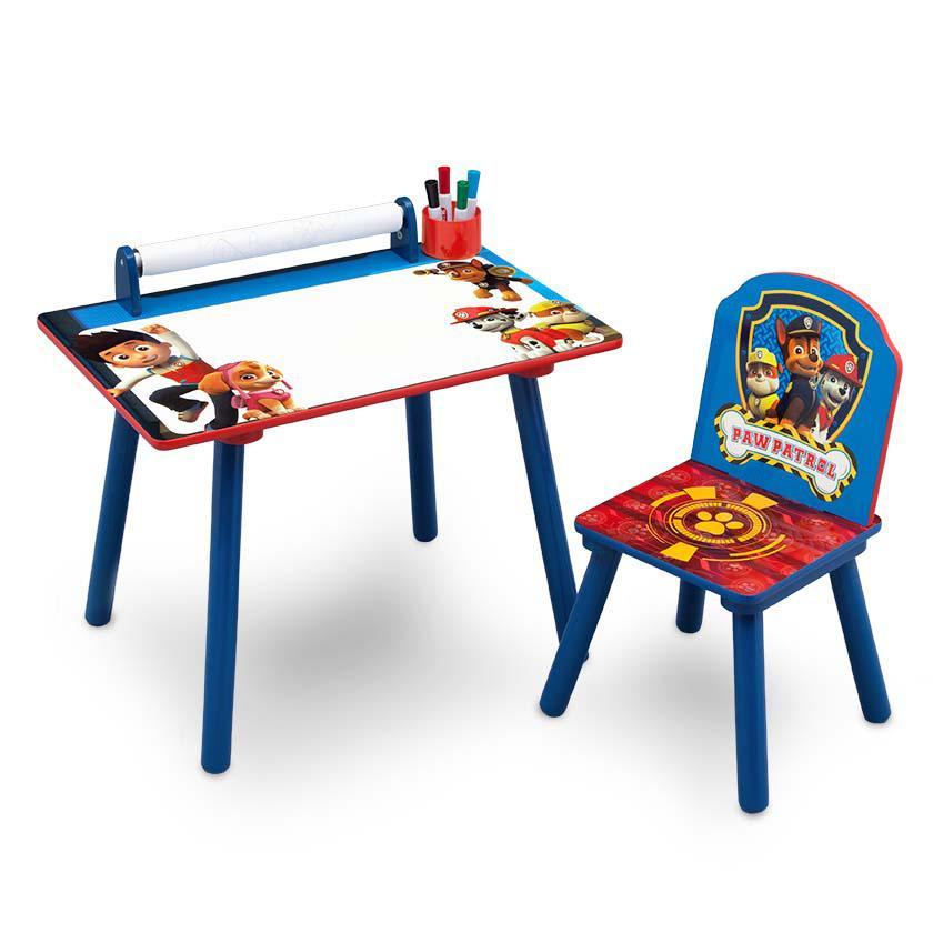 Forclaire Dětský kreslící stůl Tlapková patrola + židlička