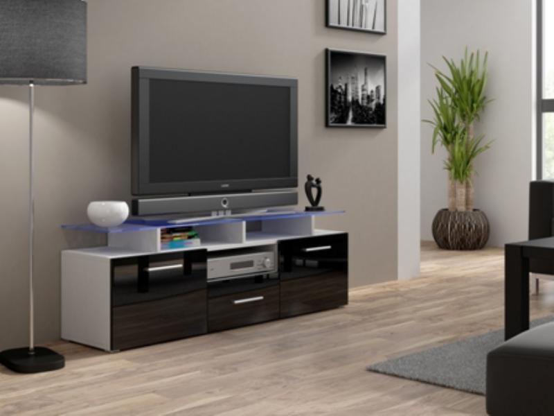 Cama Televizní stolek Evora mini RTV - bílá/černý lesk