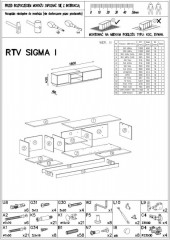 Televizní stolek Sigma 1D- dub sonoma+bílá/dub sonoma+bílá č.6