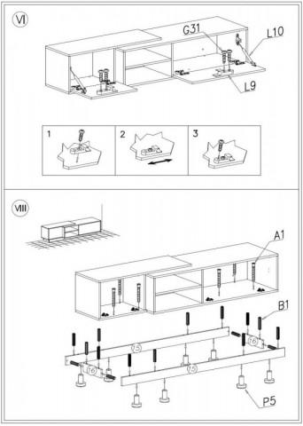 Televizní stolek Sigma 1D- dub sonoma+bílá/dub sonoma+bílá č.5