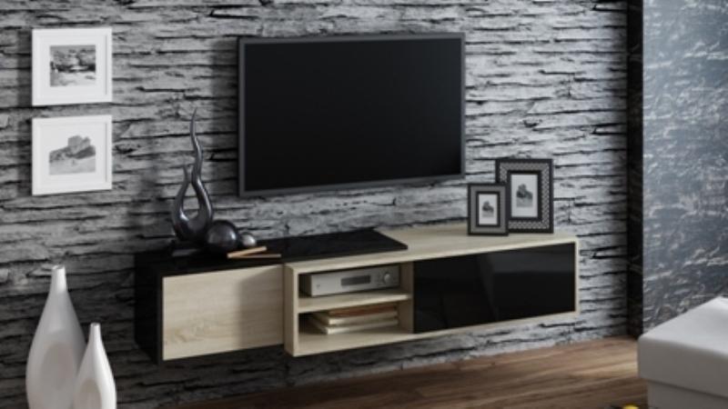 Televizní stolek Sigma 1C - dub sonoma+černá/dub sonoma+černá