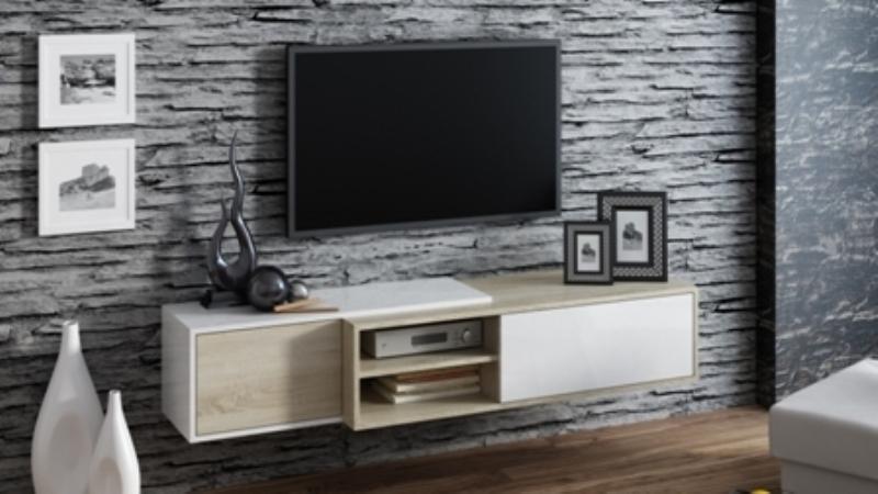 Televizní stolek Sigma 1D- dub sonoma+bílá/dub sonoma+bílá
