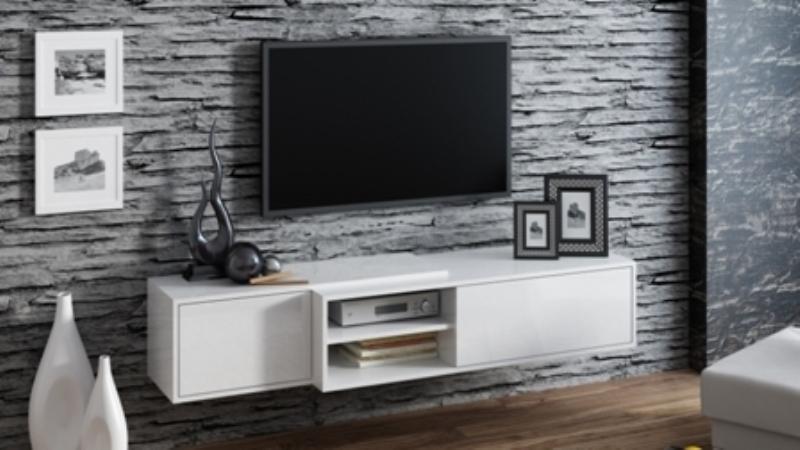 Televizní stolek Sigma 1F - bílá/bílá
