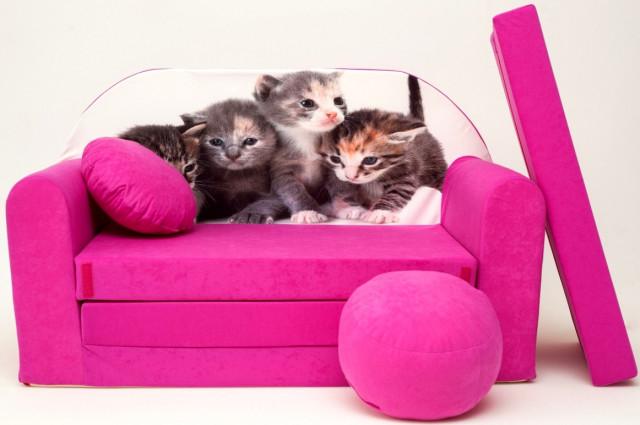 Dětská pohovka Koťátka - růžová č.1
