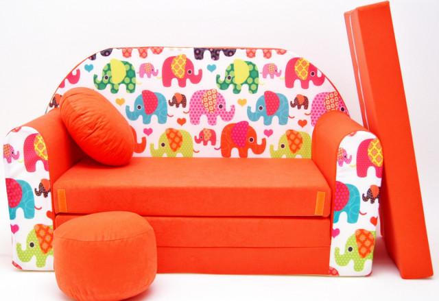 Dětská pohovka Sloni Oranžová