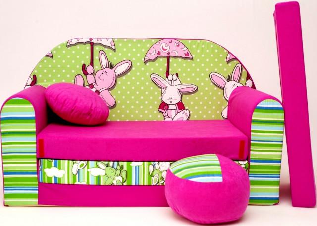 Dětská pohovka Zeleno-růžová - Zajíčci