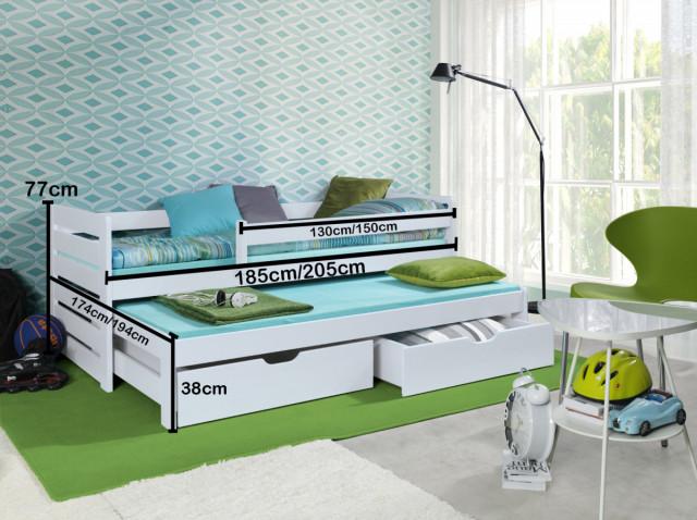Dětská postel s přistýlkou a zábranou Praktik - White č.2