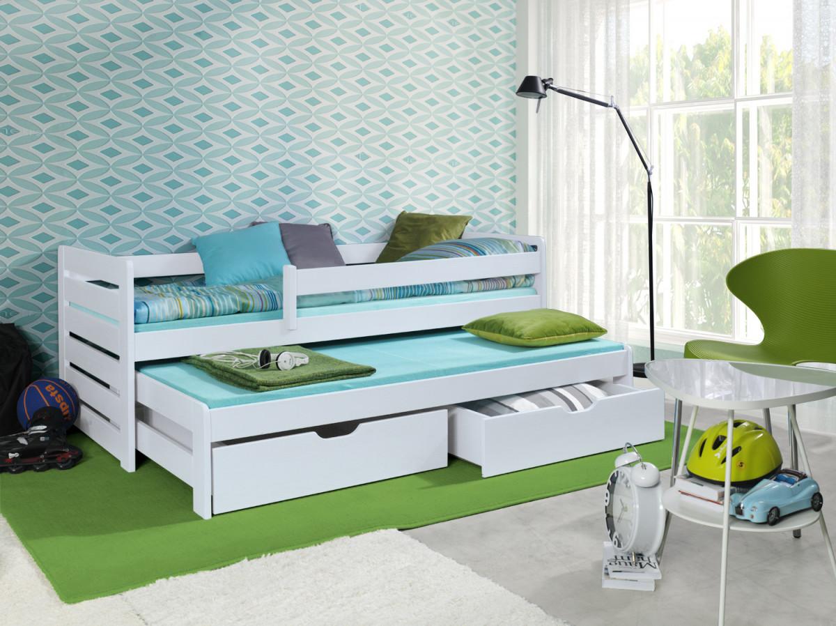 Forclaire Dětská postel s přistýlkou a zábranou Praktik - White 180x80cm