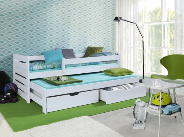 Dětská postel s přistýlkou a zábranou Praktik - White