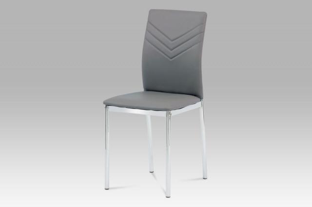 Jídelní židle AC-1280 GREY - koženka šedá