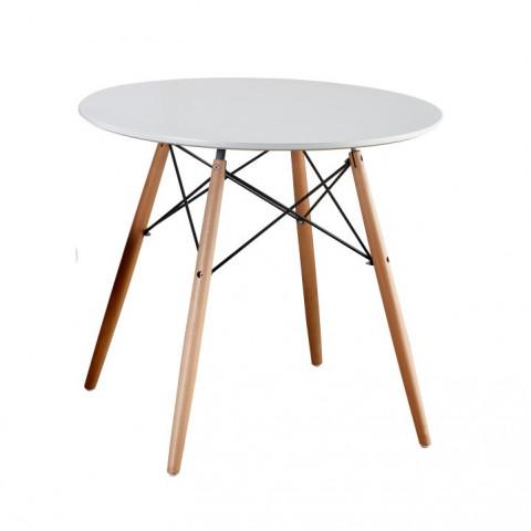 Jídelní stůl GAMIN 90 - dřevo + MDF, bílá