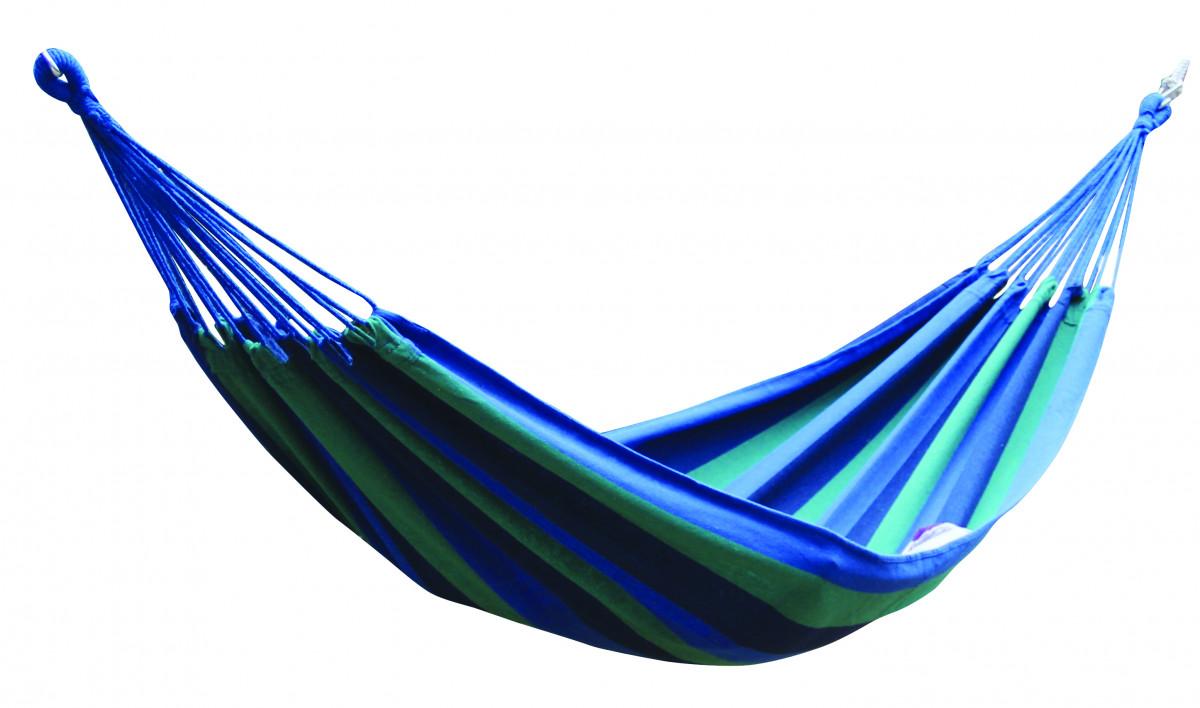 Dimenza Zahradní látková houpací síť - modrá s pruhy