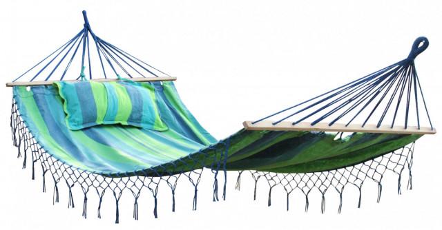 Zahradní houpací síť MAXI - modrá s pruhy