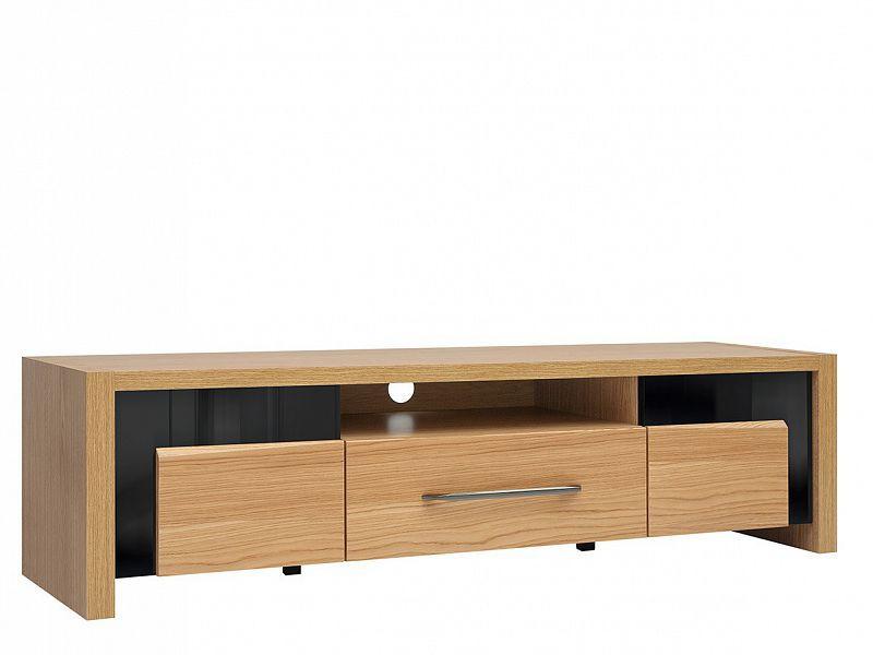 Televizní stolek Arosa RTV2D1S - Dub baltic/Černý lesk/Dub přírodní