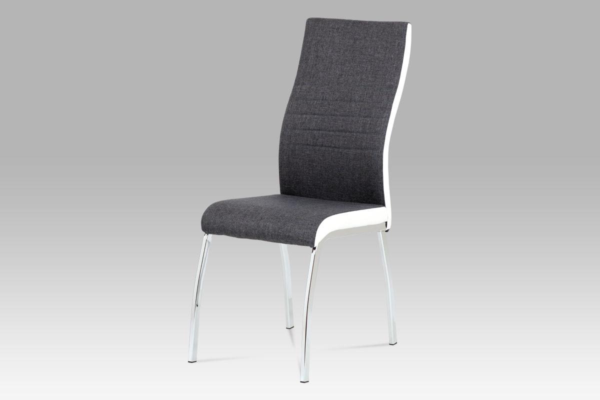 Autronic Jídelní židle DCL-433 GREY2 - šedá látka + bílá koženka