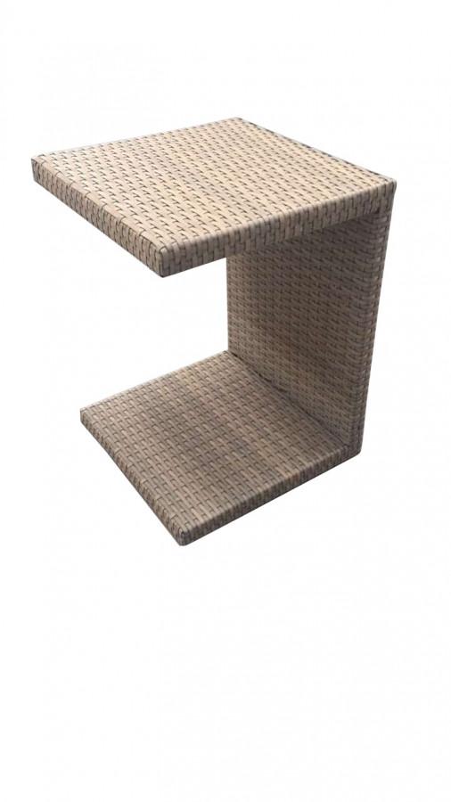 Dimenza Zahradní ratanový odkládací stolek k lehátkům - šedobéžový