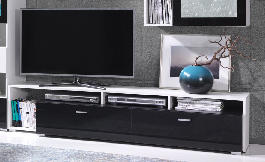 Falco TV stolek Omega R1 bílá/černý lesk