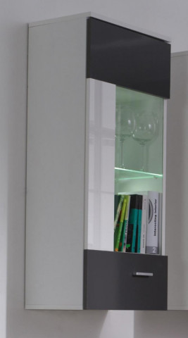 Závěsná vitrína Wenecja R7 - bílá/lesk grafit,bílá