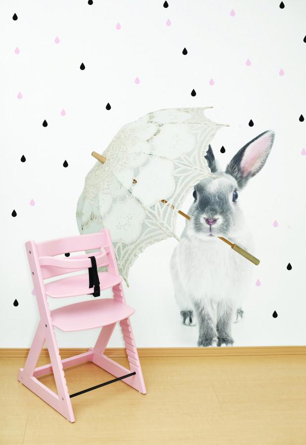 Forclaire Dekorace na zeď - králík Harry v dešti 90x115cm