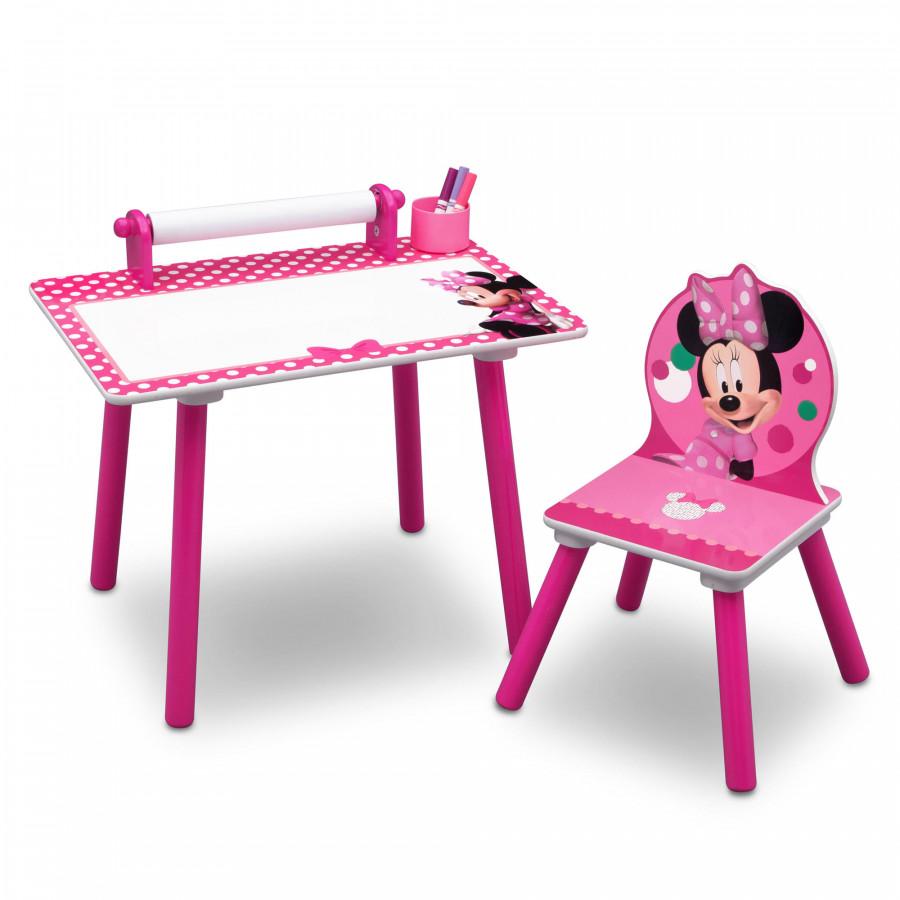 Forclaire Dětský kreslící stůl Minnie Mouse + židlička