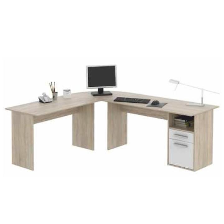 Rohový PC stůl MAURUS MA11 - dub sonoma/bílá - II. jakost