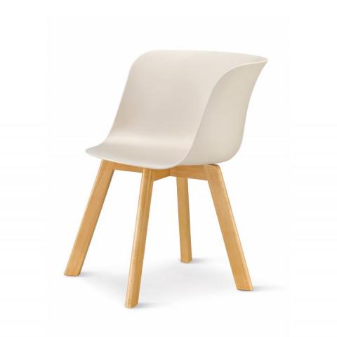 Židle LEVIN - béžová + buk