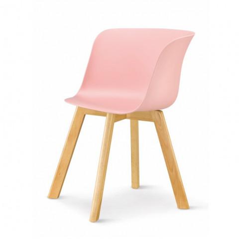 Židle LEVIN - růžová + buk